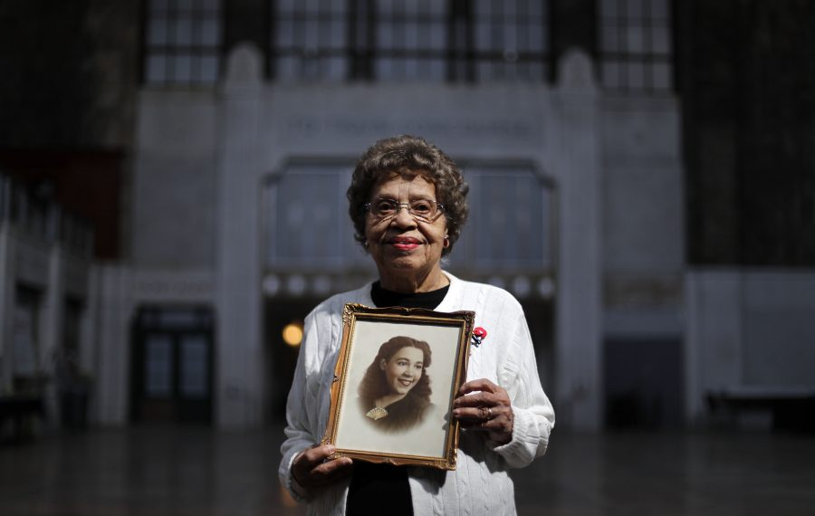 Daisy Estelle Anderson, 97, made no mention of her pancreatic cancer when she visited the Central Terminal for a Buffalo News photo project about Central Terminal memories less than a month before she died. She was photographed holding a photo of her longtime friend Ruby Siggers, who died this spring. (Mark Mulville/Buffalo News)
