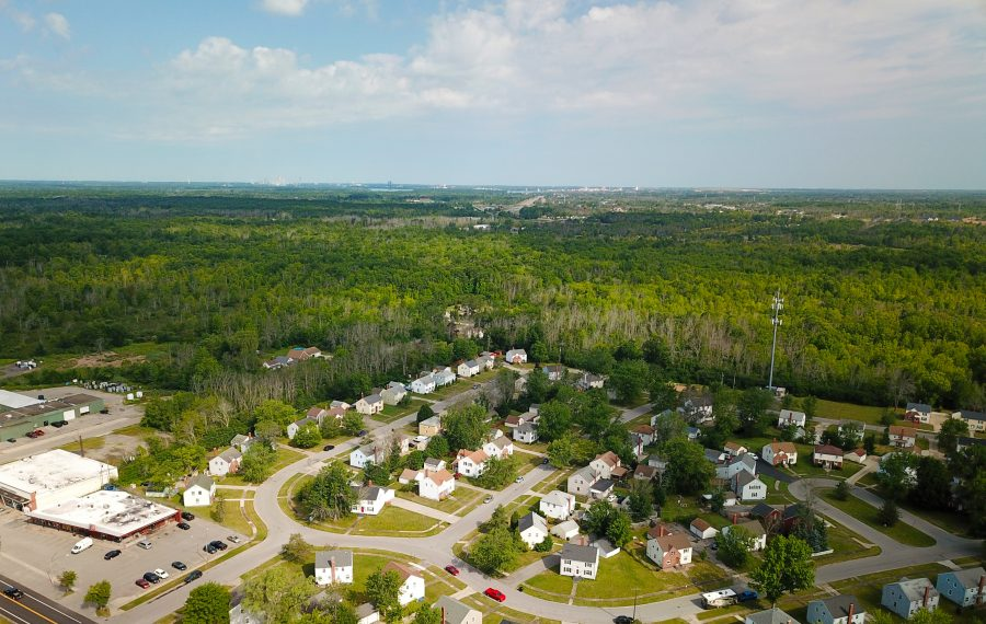 An aerial view of the Southpointe property, looking northwest from the Grandyle Village subdivision. The site is bordered by Staley Road to the north, Love Road to the south, Baseline Road to the west and the I-190/South Parkway to the east on Grand Island. (John Hickey/Buffalo News)