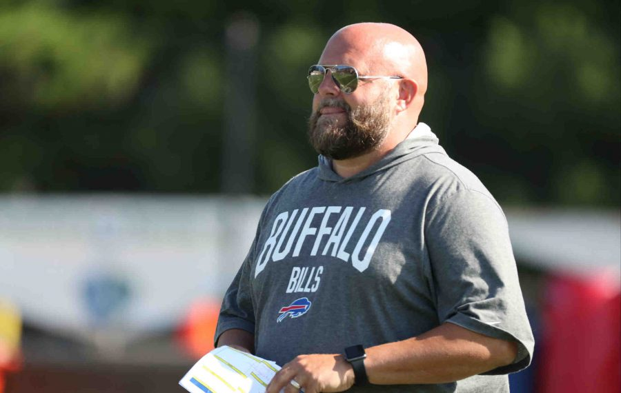 Offensive Coordinator Brian Daboll runs drills during day ten of training camp at St. John Fisher College  i(James P. McCoy/Buffalo News)
