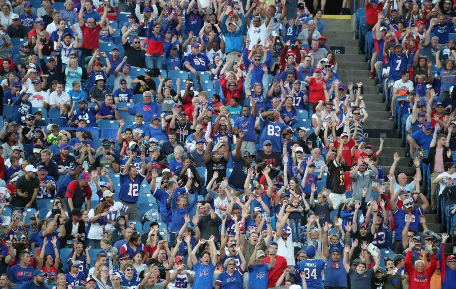 Buffalo Bills fans do the wave in the second quarter at New Era Field on Thursday. (James P. McCoy/Buffalo News