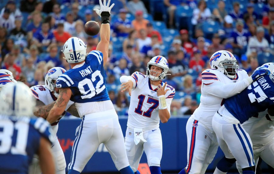 Bills quarterback Josh Allen throws against the Indianapolis Colts during the first quarter. (Harry Scull Jr./Buffalo News)