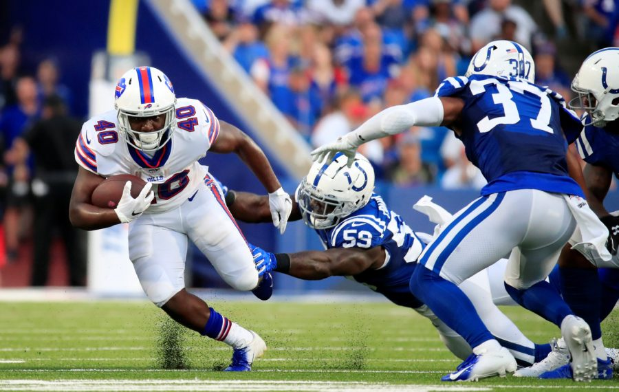 Buffalo Bills running back Devin Singletary runs against the Indianapolis Colts during second quarter action at New Era Field on Thursday, Aug. 8, 2019. (Harry Scull Jr./Buffalo News)