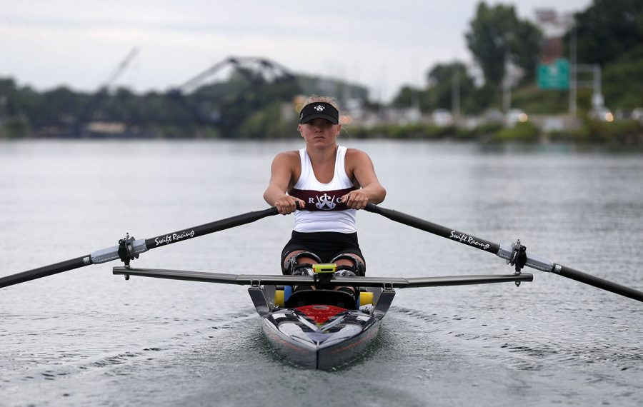 Maddy Eberhard will compete in the  2019 World Rowing Championships. (Mark Mulville/Buffalo News)