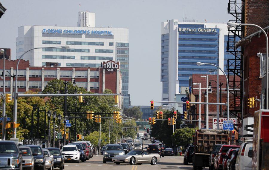 Looking north on Ellicott Street toward the Medical Campus on Monday, Aug. 5, 2019. (Mark Mulville/Buffalo News)