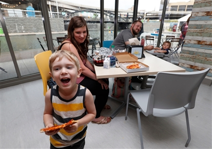 The Low Bridge Cafe is located on the ground level of Explore & More Children's Museum, but there's no requirement to have a ticket to the museum in order to enjoy Low Bridge.