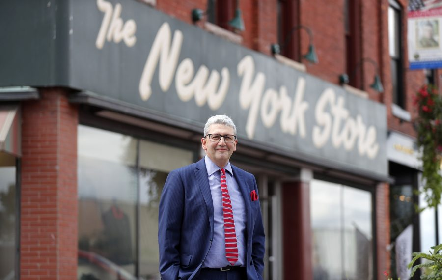 Alan Kurtzman, in front of his New York Store in the Village of Lancaster. The men's shop was opened by his grandfather 90 years ago but moved to its current location at 16 Central Ave. in 1957.   (Mark Mulville/Buffalo News)
