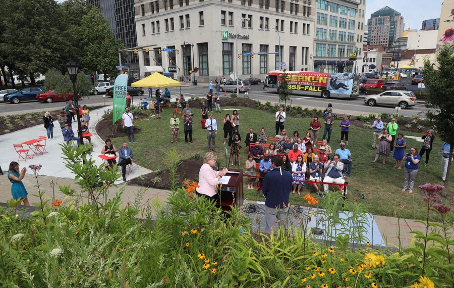 An overview of the Reading Park at Buffalo & Erie County Central Library at its opening celebration Tuesday. (John Hickey/Buffalo News)