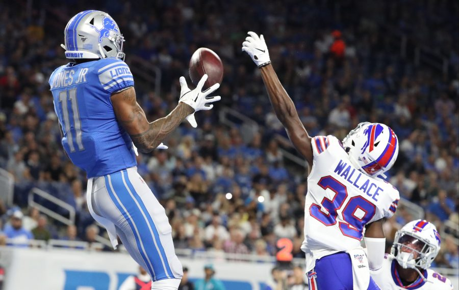 Buffalo Bills defensive back Levi Wallace breaks up a pass intended for Detroit Lions wide receiver Marvin Jones in the first quarter at Ford Field in Detroit, Michigan on Friday, Aug. 23, 2019.  (James P. McCoy/Buffalo News)
