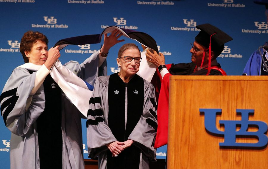 Supreme Court Justice Ruth Bader Ginsburg – a Nancy Drew fan – during her appearance Monday at the University at Buffalo. (Mark Mulville/Buffalo News)