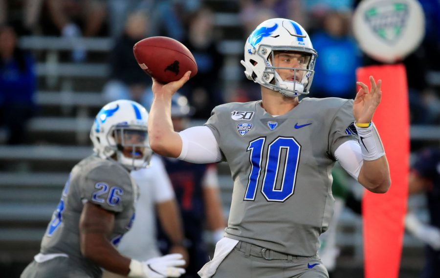 University at Buffalo quarterback Matt Myers throws against Robert Morris during first half action at UB Stadium on Thursday, Aug. 29, 2019. (Harry Scull Jr./Buffalo News)