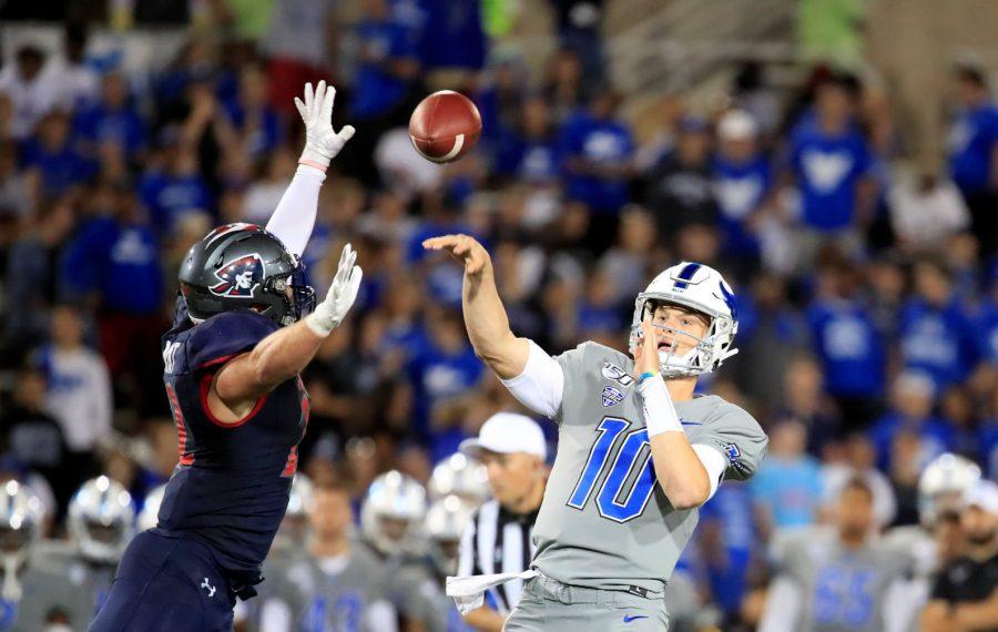 University at Buffalo quarterback Matt Myers throws against Robert Morris during second half action at UB Stadium on Thursday, Aug. 29, 2019. (Harry Scull Jr./News file photo)