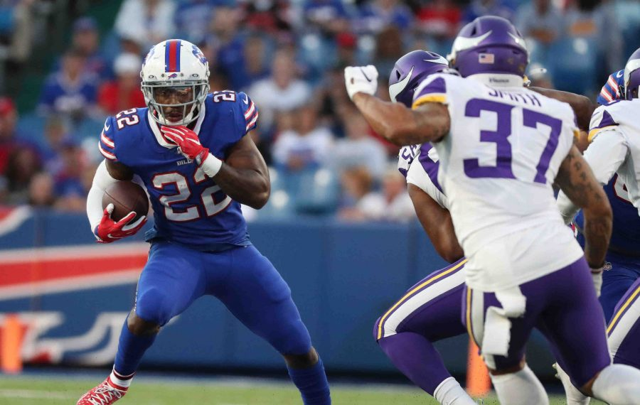 Running back Marcus Murphy (22) falls victim to the numbers game in The Buffalo News' final 53-man roster projection for the Buffalo Bills. (James P. McCoy/Buffalo News)