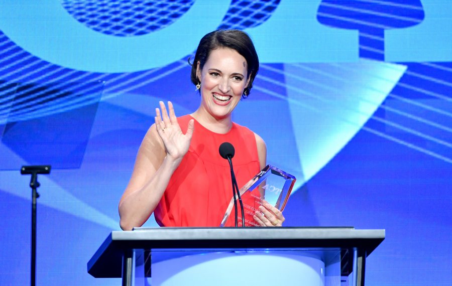 """Phoebe Waller-Bridge accepts the Outstanding Achievement in Comedy Award for """"Fleabag"""" onstage Sunday during the TCA Awards at the Beverly Hilton Hotel. (Amy Sussman/Getty Images)"""