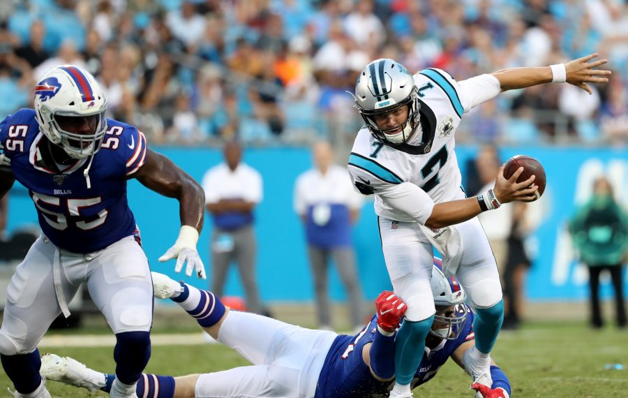 Trent Murphy(93) of the Buffalo Bills sacks Kyle Allen (7) of the Carolina Panthers in the first half during the preseason game at Bank of America Stadium on Aug. 16, 2019, in Charlotte, N.C. (Streeter Lecka/Getty Images)
