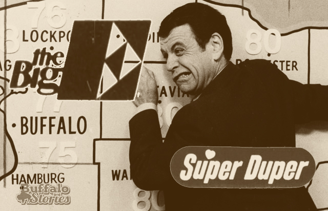 WGR-TV weatherman Barry Lillis, the supermarket chain Super Duper and defunct bank The Big E were common sights in the 1980s.