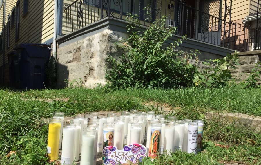 A memorial outside a Herkimer Street address where Danielle Cretacci previously lived. She was shot to death in a Town of Tonawanda home early Tuesday. (Keith McShea/Buffalo News)