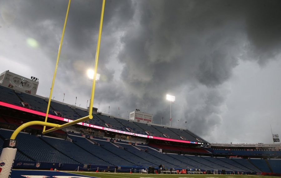 Players and fans where asked to evacuate the stadium around 5 pm because of lightning and a storm at New Era Field in Orchard Park, NY on Thursday, Aug. 8, 2019.  (James P. McCoy/Buffalo News)