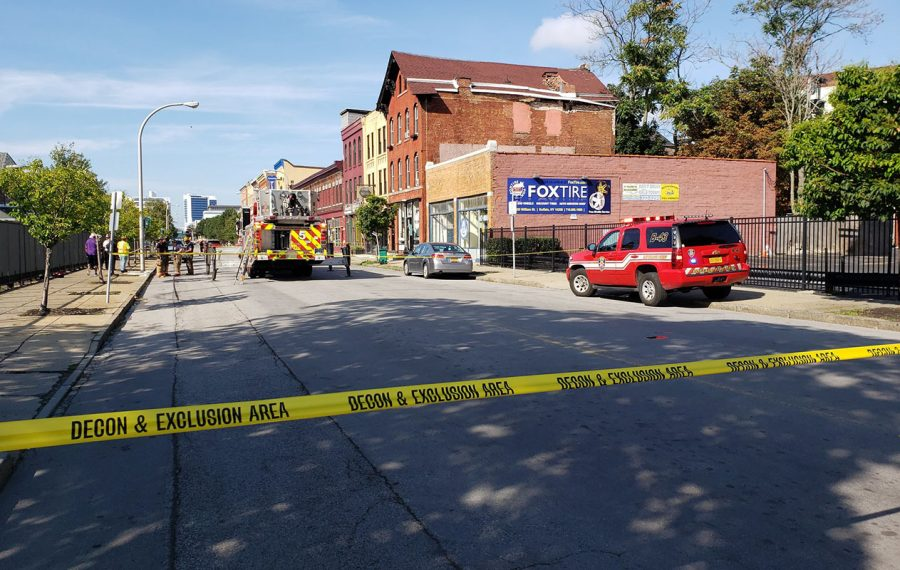 Ellicott Street is blocked off at East Chippewa Street after a partial building collapse. (Harold McNeil/Buffalo News)