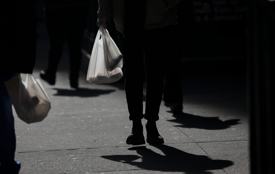 Shoppers will have to give up these plastic grocery bags come March 1. But what about other types of bags that contain plastic? Given the slipshod way Albany legislates, the answer is not yet clear. (Getty Images)