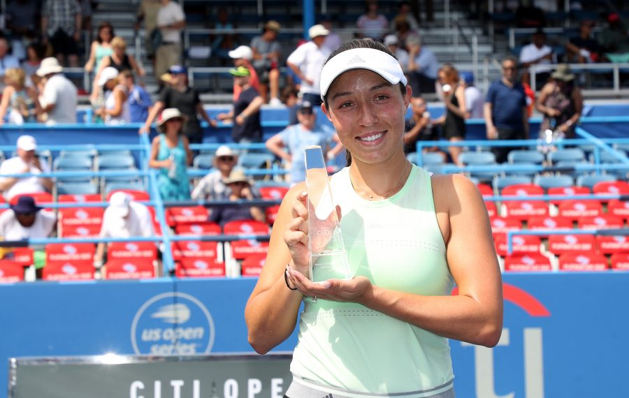 Jessica Pegula of the United States holds up the trophy after defeating Camila Giorgi of Italy during the women's singles final of the Citi Open at Rock Creek Tennis Center on August 04, 2019 in Washington, DC. (Photo by Rob Carr/Getty Images)