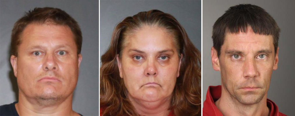 David Smercak, left, Dawn Smercak and Gregory Schroeder, right, were arrested Thursday in related meth cases. (Photo courtesy of the Erie County Sheriff's Office)