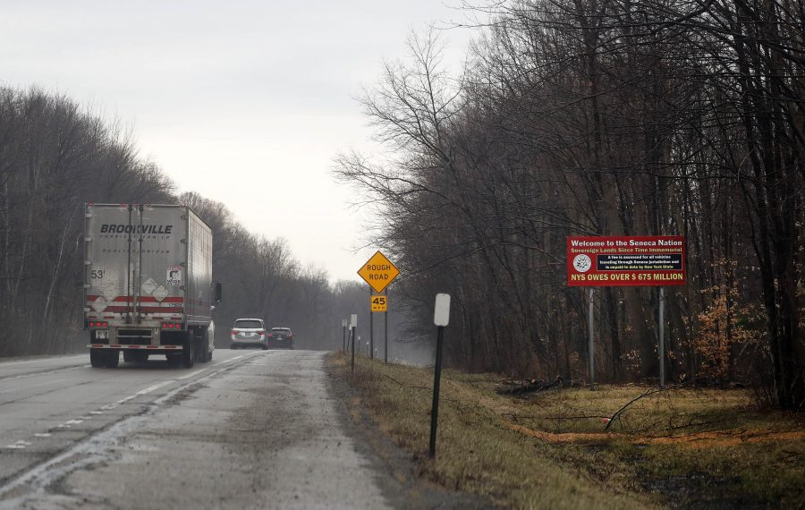A sign on the New York State Thruway through Seneca Nation territory shows the speed limit is posted at 45 mph. (Mark Mulville/News file photo)