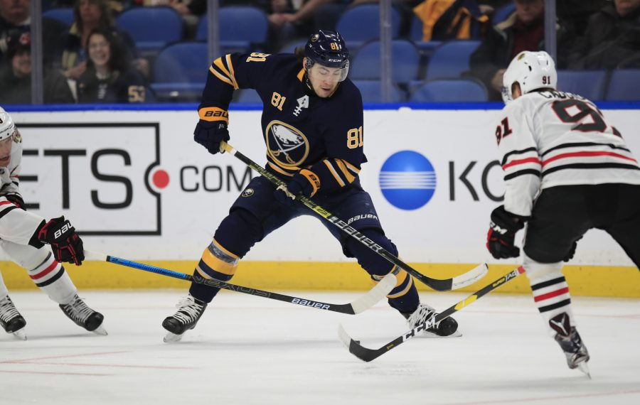 Remi Elie played 16 games for the Buffalo Sabres last season. (Harry Scull Jr./ Buffalo News)