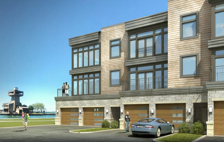 Ciminelli Real Estate Corp. is building its 20-unit West End town homes luxury project in the Waterfront Village, with sales through Hunt Real Estate ERA. (Image courtesy of Hunt Real Estate Corp.)