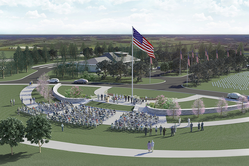 A central gathering place is one of the features that will be built in the first phase of the new Western New York National Cemetery in Pembroke. This artist's rendering is by the LA Group, the landscape architecture firm that designed the project.
