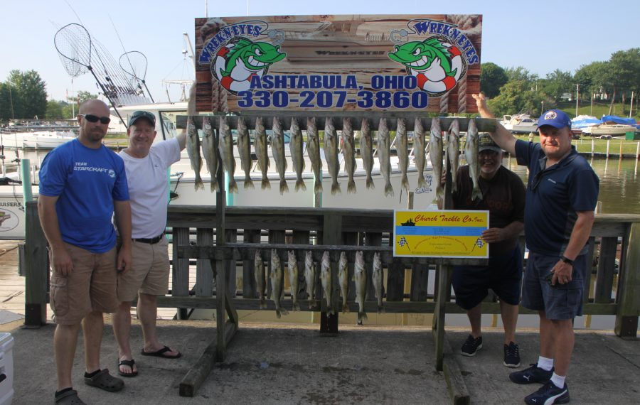 Walleye fishing out of Ashtabula was outstanding during a recent trip with Capt. Dave Diver of Wrek-n-Eyes (far left). Also in the photo are Dr. John Syracuse, Rick Henniger and Rick Hilts. (Bill Hilts, Jr./Buffalo News)