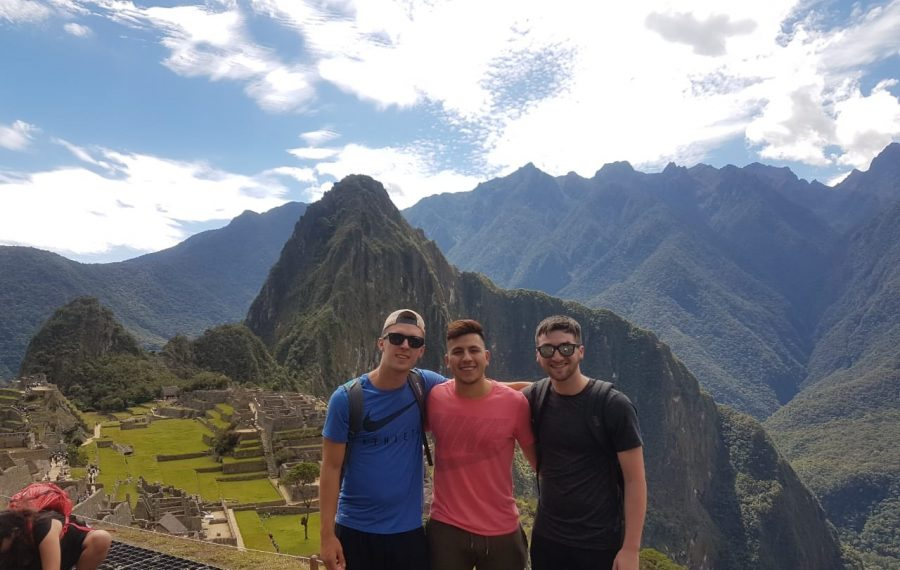 Connor Lynskey (left) with his friend Manuel Zevallos (center) and another friend, Tommy Heslin, last summer, Machu Picchu, Peru. (Image courtesy Manuel Zevallos Villanueva)
