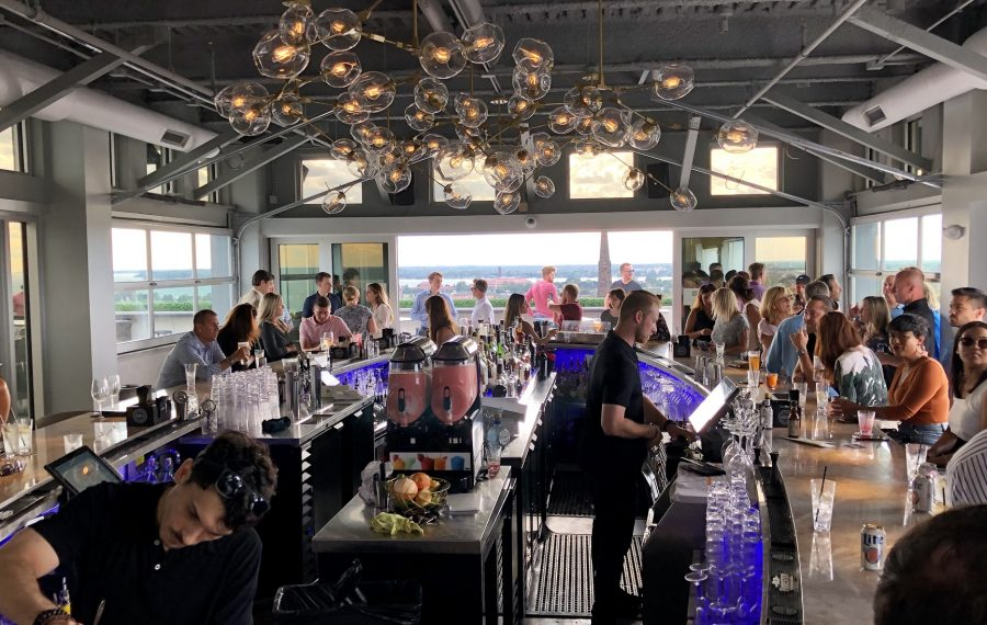 The inside of Patrick's Rooftop, with views of Lake Erie. (Ben Tsujimoto/Buffalo News)