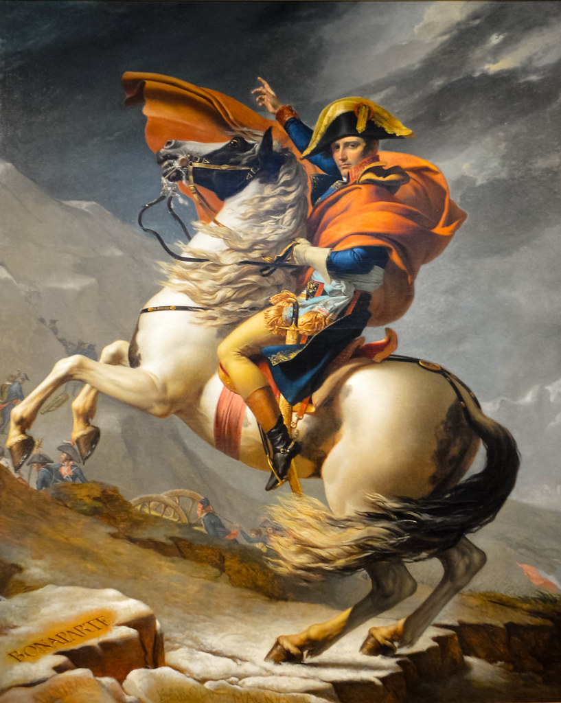 """""""Napoleon Crossing the Alps"""" by Jacques-Louis David. (Kunsthistorisches Museum, Vienna)"""