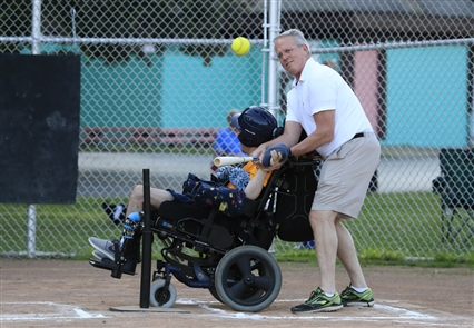 Rory O'Connor, 20, will graduate next spring from Hamburg High School. He uses a wheelchair because of cerebral palsy. The James J. Lilley Foundation under the Aktion Club league umbrella within the East Aurora Kiwanis Club created a four-team league for women and men with developmental disabilities.