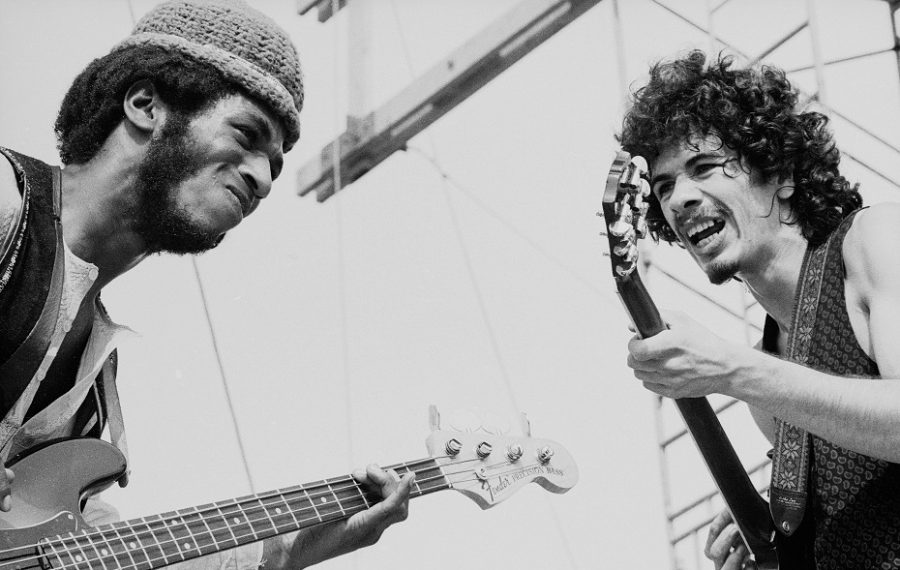 Carlos Santana, right, with bassist David Brown at the original Woodstock. (Photo by Tucker Ransom/Getty Images)