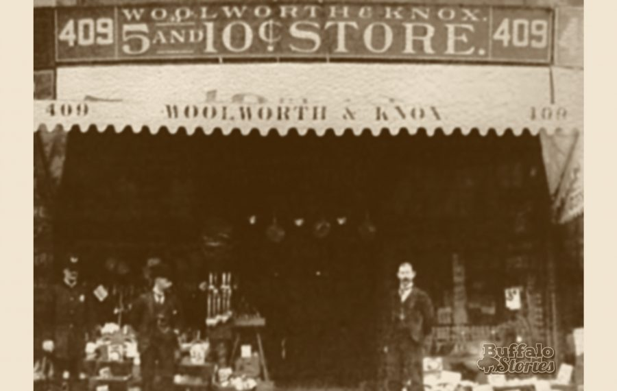 The Woolworth & Knox store in the Mooney Building on Main Street near Clinton Street in 1888.