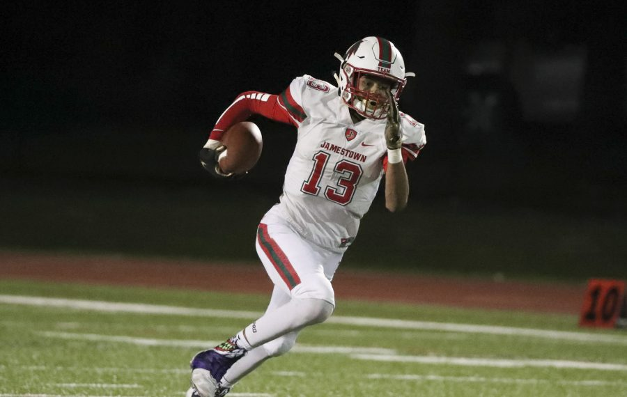 Simeon Leeper, shown here against Clarence back in Week 4, caught three passes for 89 yards including the go-ahead touchdown for Jamestown in Friday night's win over Orchard Park. (James P. McCoy/Buffalo News file photo)