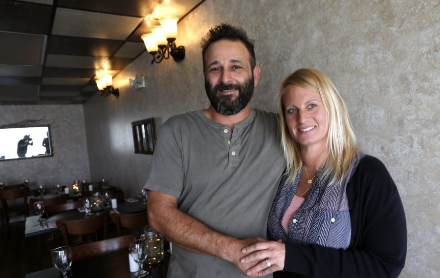 Owners Oded and Keri Rauvenpoor at Falafel Bar on Sheridan Drive in Amherst. (Robert Kirkham/Buffalo News)