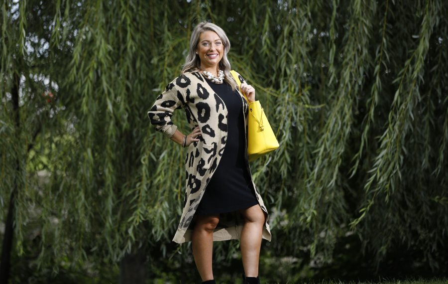 Jennifer Trautman, a sales rep for Henry Schein Dental, met us at Island Park in Williamsville dressed in a favorite outfit for late summer/almost fall. (Derek Gee/Buffalo News)