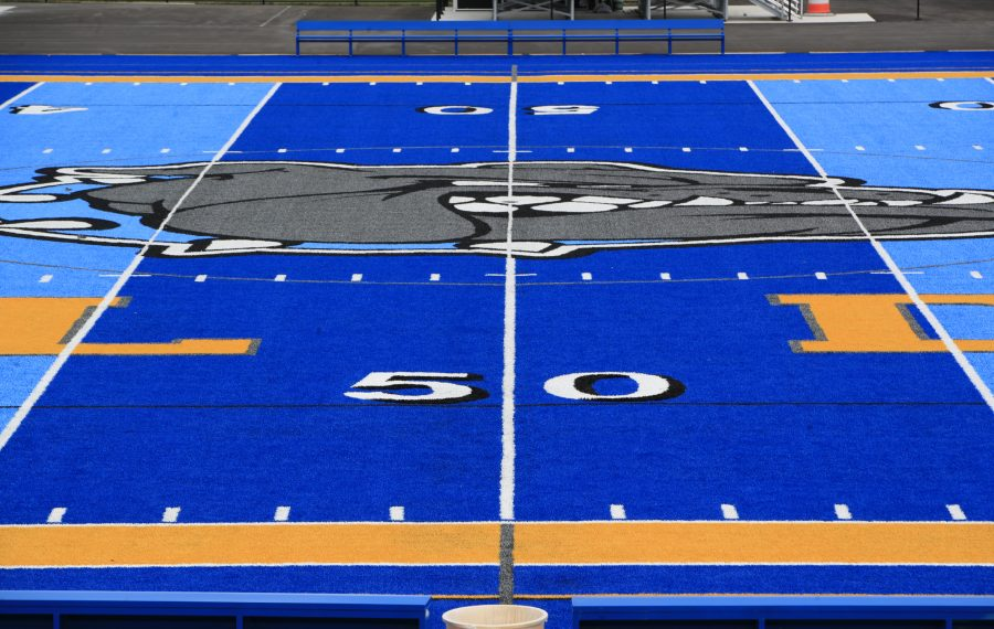 #DefendTheBlue is the rallying cry for Alden sports teams, including football, now that the district has installed a two-toned blue all-weather surface. (Harry Scull Jr./Buffalo News)