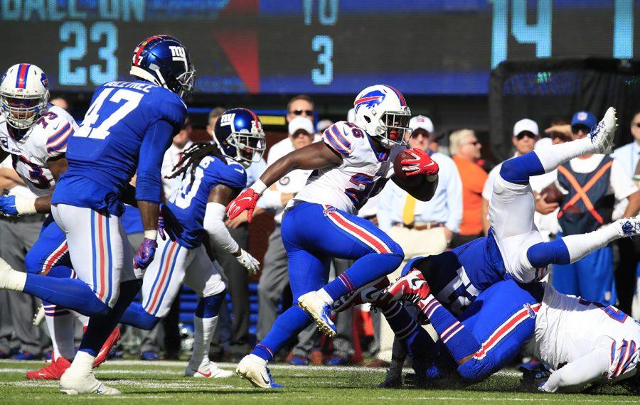 Bills running back Devin Singletary runs against the Giants during the fourth quarter at MetLife Stadium on Sunday, Sept. 15, 2019. (Harry Scull Jr./Buffalo News)