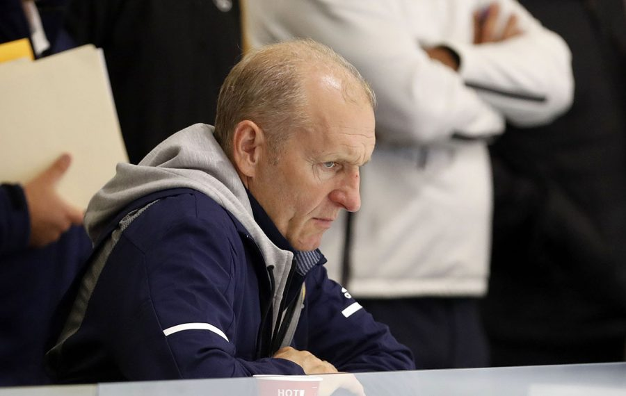 Sabres coach Ralph Krueger watches the first period of the prospects game with the Penguins at Harborcenter in Buffalo Monday, Sept. 9, 2019.  (Mark Mulville/Buffalo News)