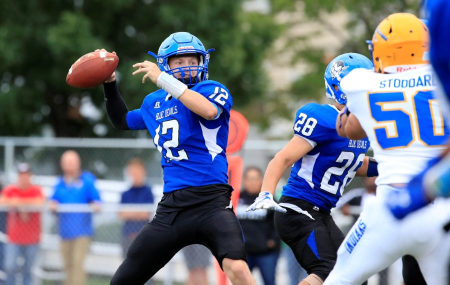 Kenmore West quarterback Zach Boyes scored three straight touchdowns to lead the Blue Devils past West Seneca West. (Harry Scull Jr./Buffalo News)