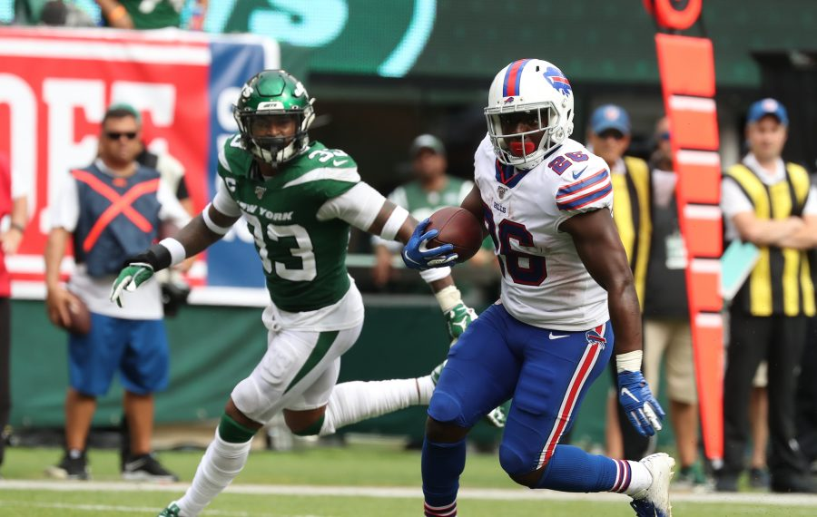 Rookie running back Devin Singletary had 70 rushing yards on just four carries in his first game with the Buffalo Bills. (James P. McCoy/Buffalo News)