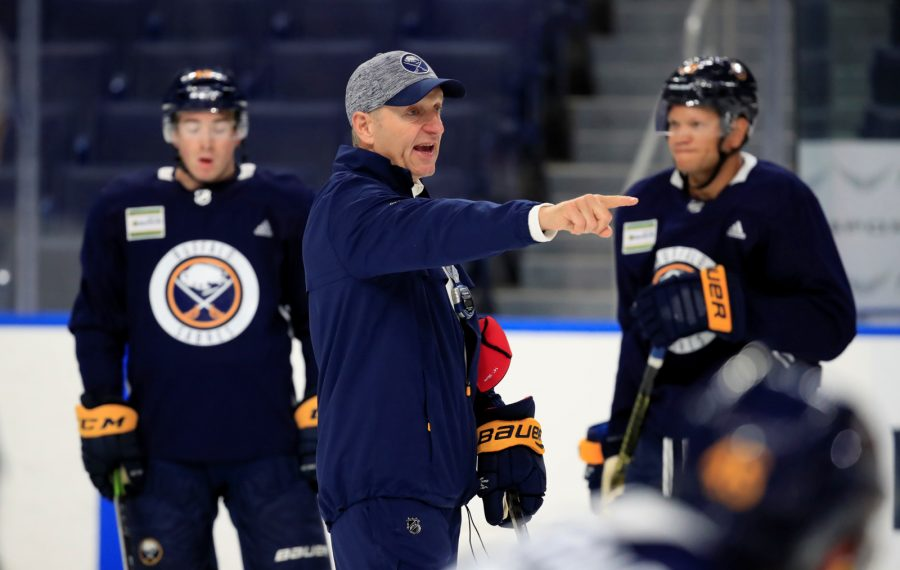 Buffalo Sabres coach Ralph Krueger during training camp at the KeyBank Center on Friday, Sept. 13, 2019. (Harry Scull Jr./Buffalo News)