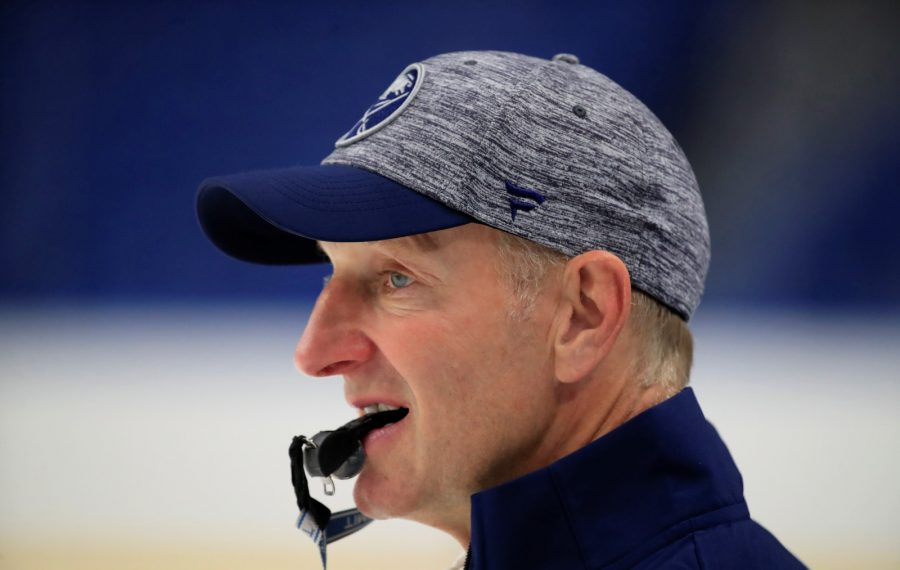 Buffalo Sabres coach Ralph Krueger during training camp at KeyBank Center on Friday, Sept. 13, 2019. (Harry Scull Jr./Buffalo News)