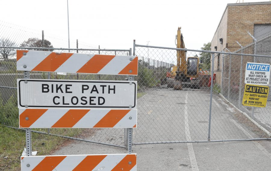 This sign greeted people who used the Shoreline Trail, a bike path operated by Erie County that runs through the Town of Tonawanda, during the spring and summer. The path reopened Thursday. (Sharon Cantillon/Buffalo News)