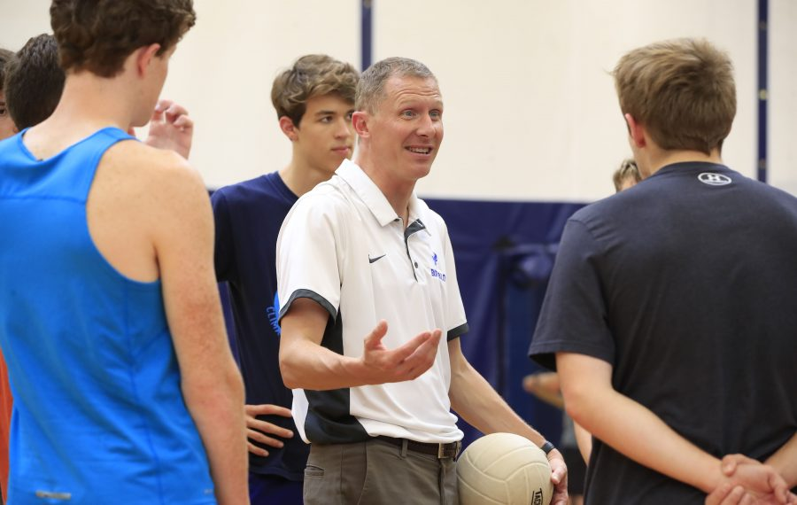 East Aurora volleyball coach Brian Lombardo speaks to his team during practice on Wednesday. (Harry Scull Jr./Buffalo News)