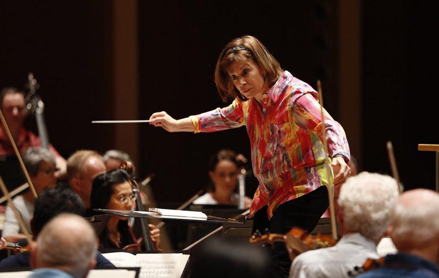 Buffalo Philharmonic Orchestra Music Director JoAnn Falletta conducts during a rehearsal on Saturday, Sept. 21, 2019. (Sharon Cantillon/Buffalo News)