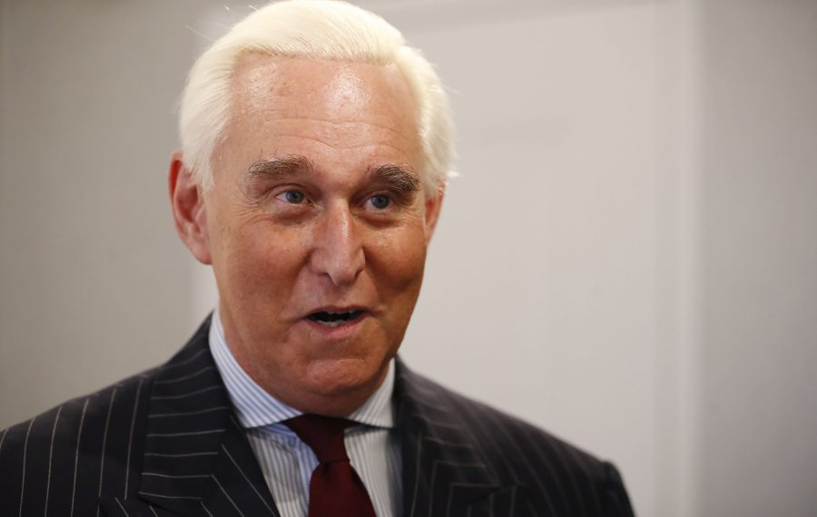 Roger Stone during an interview before speaking at his fundraiser at the Aloft in Buffalo Friday. (Sharon Cantillon/Buffalo News)